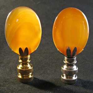 Stone Lamp Finial AMBER RED Agate Lamp Finial W/Brass Or Nickel Base (