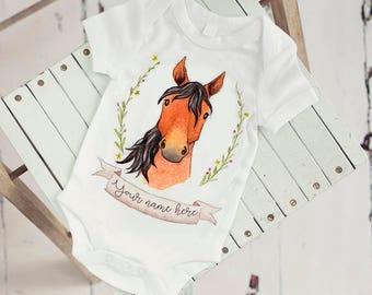 Horse baby bodysuit - personalised bodysuit, watercolour horse, Equestrian baby clothes, country, farm animal, babyshower gift, horse onesie