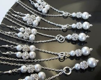 Five (5) Bridesmaid Necklace And Earrings Jewelry Sets,Pearl & Rhinestone Bridesmaid Jewelry, Set of 5 Bridesmaids,Bridal Party Gifts