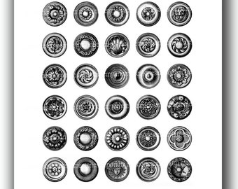 Black and White Circles Victorian Digital Collage Sheet 1 One Inch Rounds for Monochrome DIY Jewelry Pendants Buttons Decoupage Antique 579
