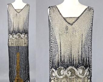 1920s Beaded Tabard Dress, Vintage 20s Flapper Dress, Art Deco Great Gatsby Dress