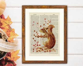 Fall Squirrel Autumn Squirrel Upcycled Vintage Book Page Art Print, Antique Dictionary Page Art Print, Animal Art Print, Wall Art, Poster