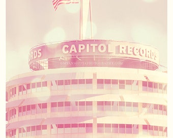 Capitol Records Tower photograph, girls room decor, Hollywood California LA, music industry, musicians architecture summer, Los Angeles art