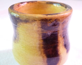 Small Yellow and Brown Ceramic Cup