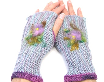 Fingerless Gloves, Handknit Mitts, Hand Warmers, Alpaca and Merino, Needle Felted Flower Applique, Whimsical, Flower Mitts