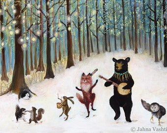 Print / Whimsical Woodland / Forest Festivities /  Woodland Art / Nursery Art / Animal Band / Home Decor / Banjo / Black Bear / Fox art