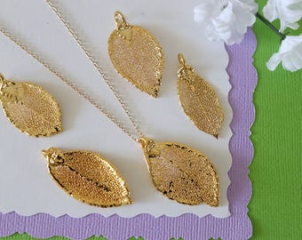 Gold Rose Leaf Necklace, Real Leaf Necklace, Rose Leaf, Gold Leaf Necklace, Long Leaf, Leaf Pendant LC227