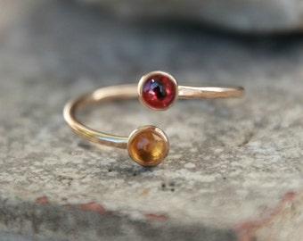 dual birthstone ring. two stone ring. gemstone couples ring . Multi Gemstone . double gemstone ring - mothers ring. double birthstone ring.