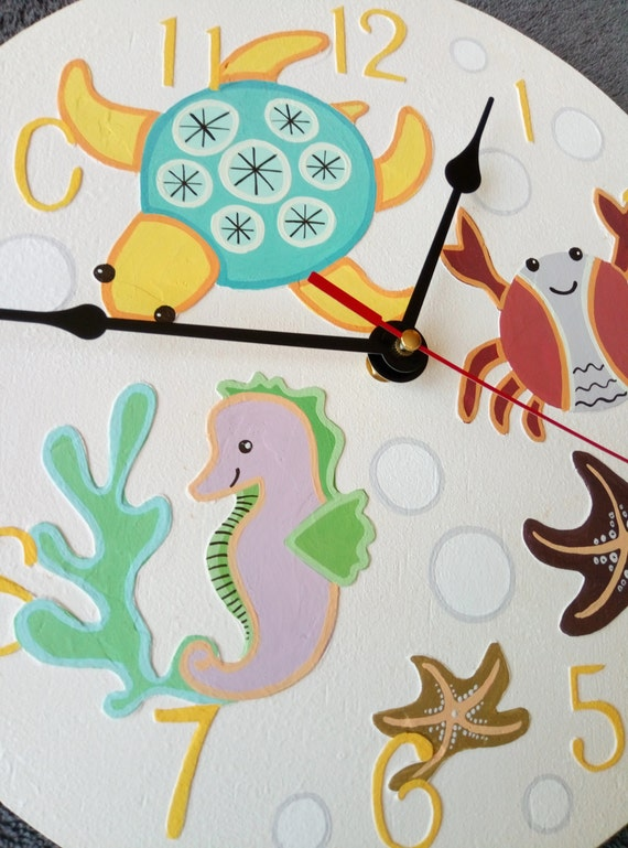 Sea Animals Wall Clock Ocean Home Decor For Children Baby Kid