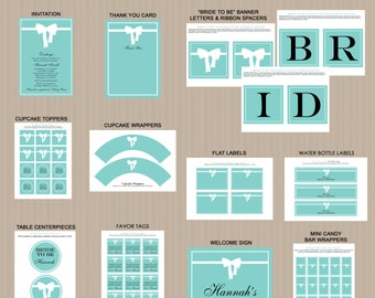 Breakfast at Tiffany's Bridal Shower Printables, Baby Shower Printable Decorations, Teal Blue, White Bow, Printable PDFs