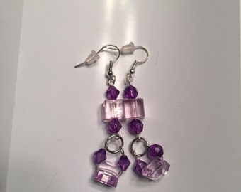 Earrings-purple and lilac dangle loop earrings