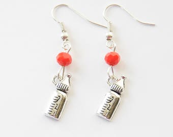 Baby Bottle Earrings, New Mom Gift, Baby Shower earrings, Baby Bottle Jewelry, New Mom Earrings, Birthstone Earrings, New Grandma gift