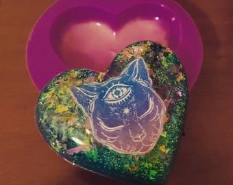 Silicone mold Shiny Heart 5 cm