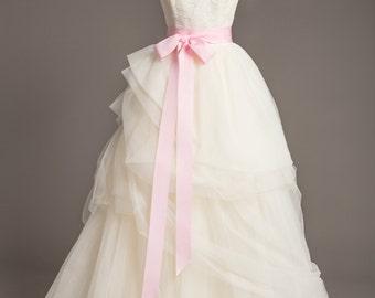 "Light Pink Wedding Sash - 2"" - Romantic Luxe Grosgrain Ribbon Sash - Wedding Belt, Bridal Sash, Bridal Belt - Wedding Dress Sash"