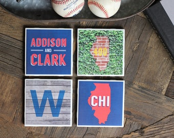 Chicago / Chicago Coasters / Chicago Gift / Chicago Coaster / Windy City / Chicago Decor / Chicago Baseball / Wrigley / Addison / Clark CHI
