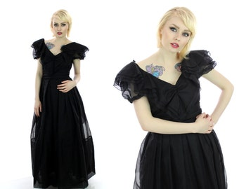 Vintage 60s Dress Black Sheer Puff Sleeves V Collar Full Circle Skirt Formal Cocktail Pin-up Retro 1950s 50s 1960s Party Medium M Small S