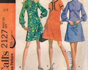 McCall's 2127 High Waisted Dress with Bodice Variations VINTAGE 1960s