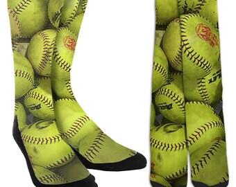 Softball Crew Socks - Softball Socks - Girls Softball Socks-Softball Clothing -Unique Socks-Novelty Socks - 100% Comfort - FREE Shipping A28