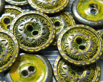 """Antiqued """"Iron"""" Metal Button - Metal Flat Button with Aged Mustard Patina - 2 Buttons Per Order"""