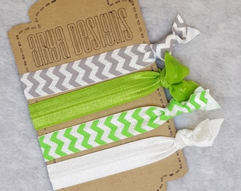 Creaseless Elastic Hair Ties, Hair Tie Bracelets, BridesMaid Gifts, Party Favors, Grey, Green, Lime Green, Chevron, Silver Sparkle Set of 4