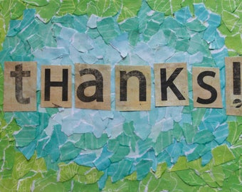 Thanks! Collage Art Notecards -- Single or Set of 5 -- Blank Inside -- Envelopes Included