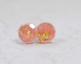 Tiny Coral and Gold Flake 8mm Stud Earrings, Simple Jewelry, Minimal Earrings, Peach Plastic Studs, Checkerboard Cut Post Earrings