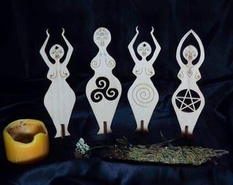Goddess Dolls Standing Wooden Statue
