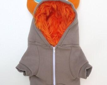 Dog  Monster Hoodie - Gray with orange - Size Large - Pet - monster hoodie, horned sweatshirt, custom jacket