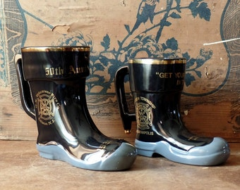 Vintage Porcelain Fireman Steins, Black, Collectibles, Anniversary, Firehouse, New Jersey