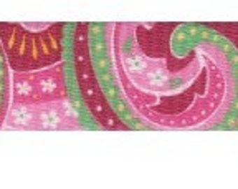 1 Inch Pink Paisley Polyester Webbing Martingale Collar