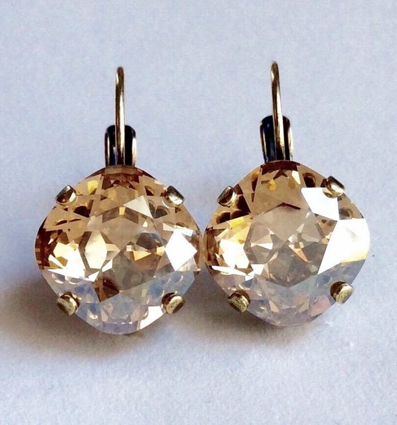 Swarovski Crystal 12MM Cushion Cut, Lever- Back Drop Earrings - Designer Inspired -Golden Shadow- On SALE -  FREE SHIPPING