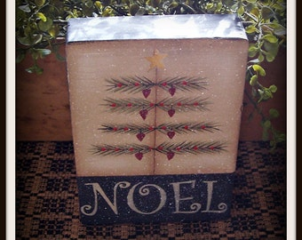 Primitive Christmas Tree Noel Wood Block Shelf Sitter Holiday Christmas Home Decor