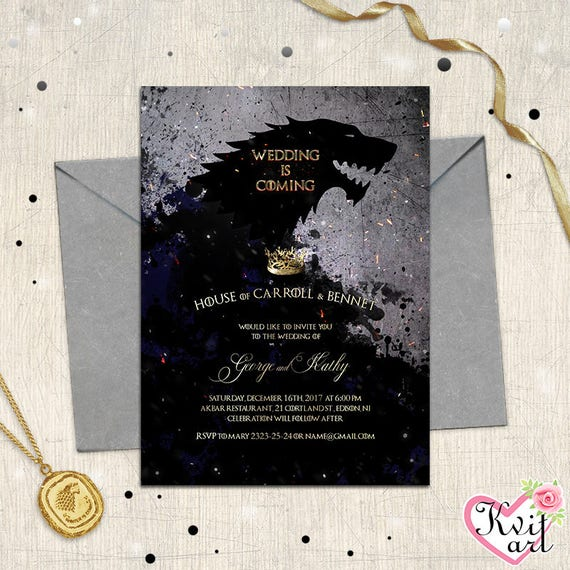 Wedding is coming invitation game of thrones movie themed invite winter snowfall black charcoal fire save the date birthday is coming stopboris Images