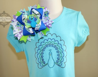 Pretty as a Peacock Bling Top & Bow Set, Boutique Hair Bow, Size XS (5)