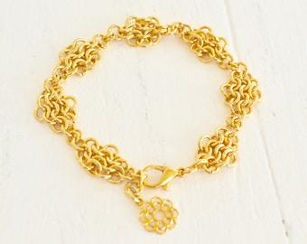 Chainmaille Diamant verbunden Armband - 14 k vergoldetes Armband - Armband - BALUS Studio