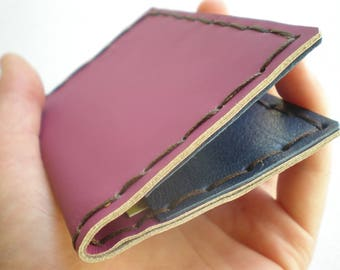 Purple and blue leather card case