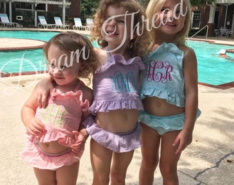 Monogram Gingham toddler bikini, monogram toddler swim suit, monogram toddler bathing suit(made to order)