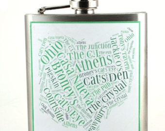 OU Bobcats bars- flask - unique gift for the Ohio University student -