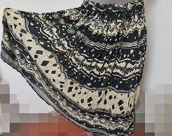 Vintage 1970 Indian Cotton Gauze Hippy Skirt L #352