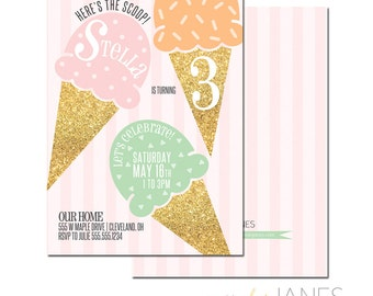 Ice Cream Birthday Party Invitation - 5X7 with *bonus reverse side*