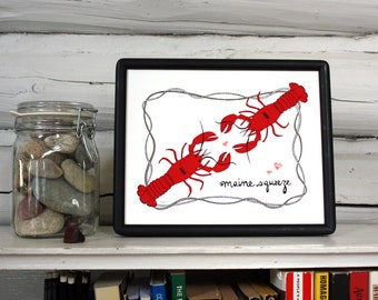 Lobster love art print for your Maine squeeze