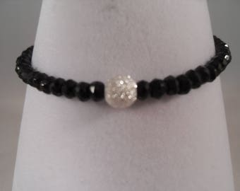 Black Spinel Bracelet with a 925 Silver Stardust Centre Bead and 925 Clasp and Extension Chain.Perfect Present Gift