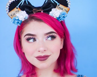 Pre-order Alice in Wonderland inspired Mouse Ears Flower Crown Headband drink me eat me