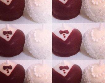 Dozen Wedding Cake Pops, Bride & Groom Cake Pops, Tuxedo Cake Pops