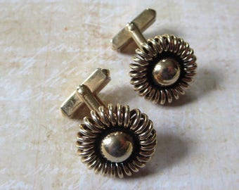 Vintage Swank Cufflinks in Goldtone with Ball and Coiled Design with Toggle Bar Closure, Fun Retro Cufflinks with Swank Quality