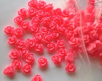 Flat Back Magenta Pink Rose Flower 10mm Resin / Acrylic Cabochons - No hole