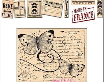 Stamp wood butterflies, Miscellany Design stamp, made in France, scrapbooking