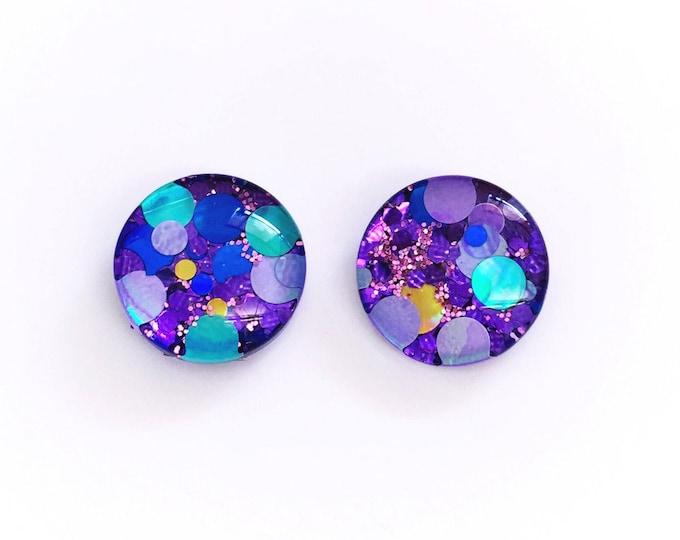 The 'Purple Rain' Glitter Glass Earring Studs