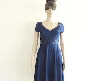 Navy Blue Bridesmaid Dress. Knee Length Dress. Dress With Sleeves.