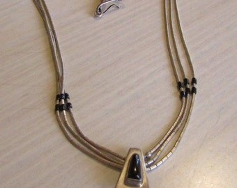 Three Strand Liquid Silver Necklace with Jet Pendant and Heshi